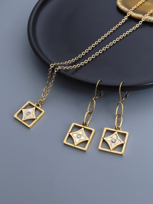 MAKA Titanium 316L Stainless Steel Shell Minimalist Geometric Earring and Necklace Set with e-coated waterproof 2