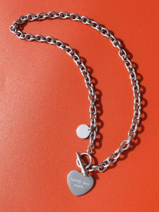 Steel necklace 45cm Titanium Steel Heart Vintage Hollow Chain Necklace