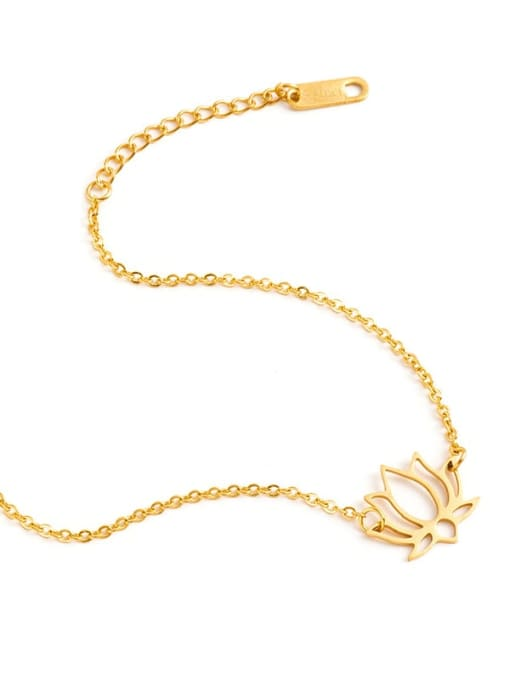 YAYACH Stainless steel Gold Flower Minimalist Link Bracelet 2