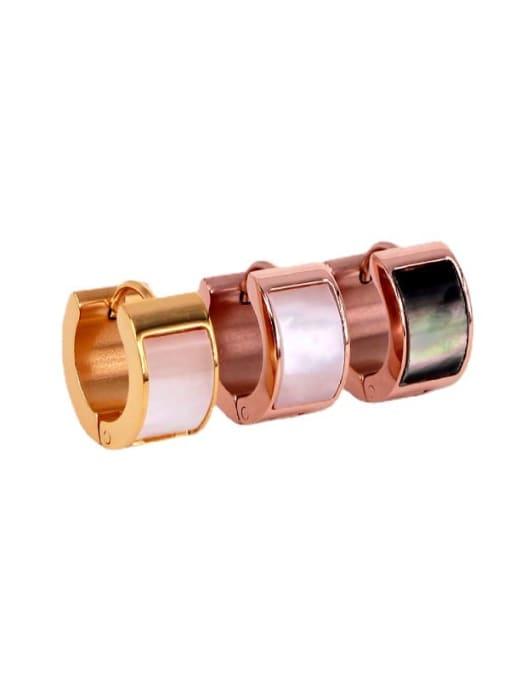 K.Love Titanium Steel Shell Geometric Minimalist Huggie Earring 2