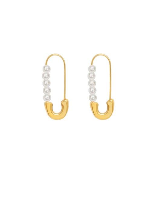 MAKA Titanium Steel Imitation Pearl Pin Minimalist Drop Earring 0