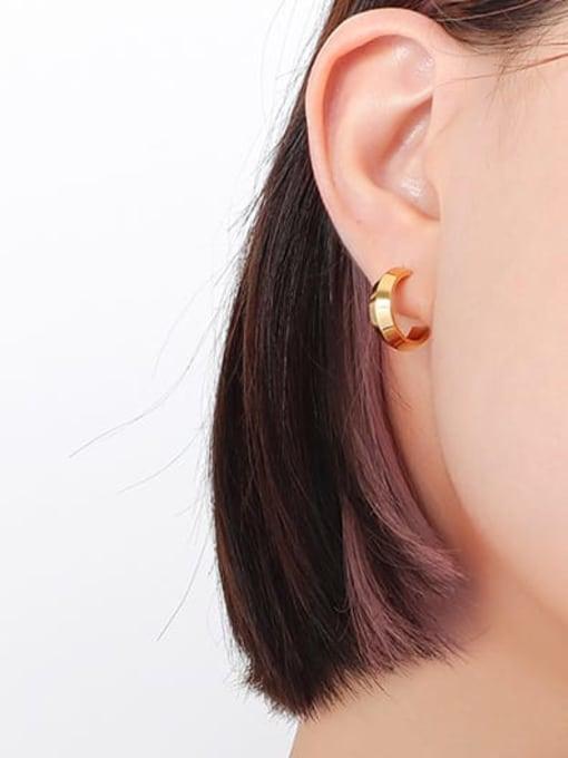 F533 Gold Earrings Titanium Steel Geometric Minimalist Stud Earring