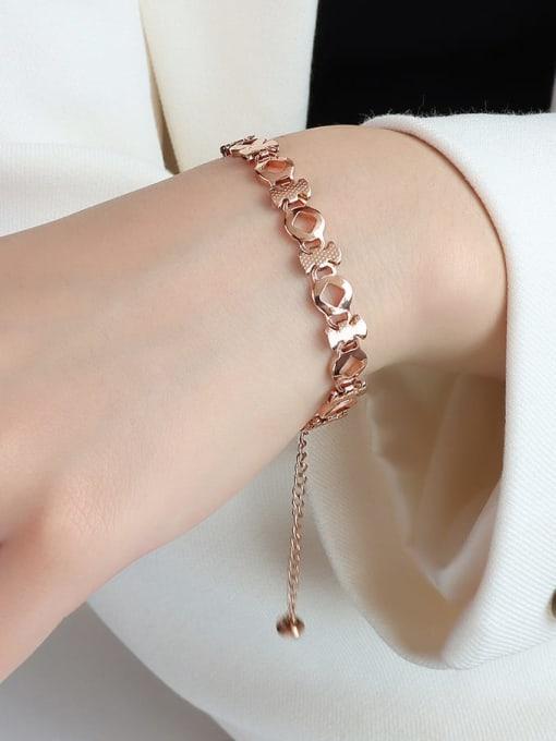 E090 rose gold prismatic 16 +5cm Titanium Steel Geometric Minimalist Link Bracelet