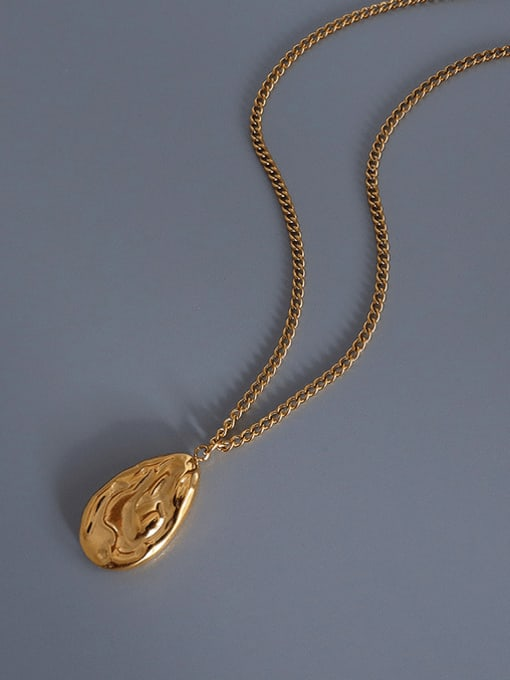MAKA Titanium Steel Irregular Vintage Water Drop Shaped Necklace 2