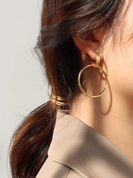 MAKA Titanium Steel  Hollow Geometric Minimalist Hoop Earring 1