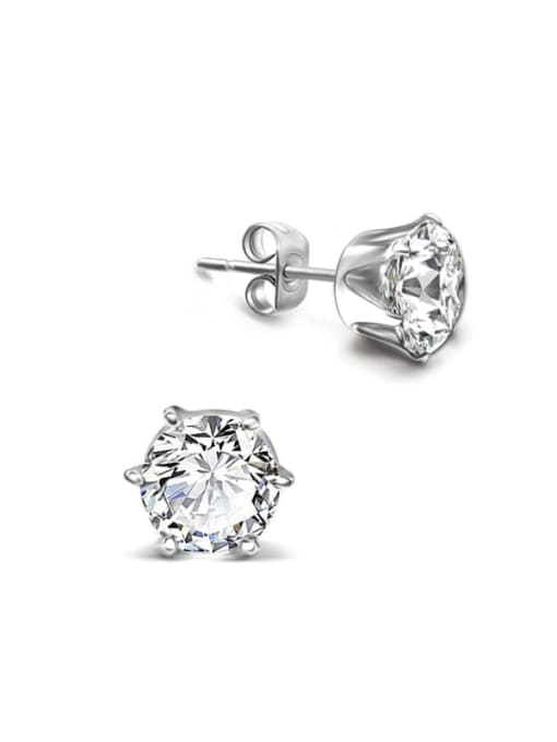 MAKA Titanium Steel Cubic Zirconia Geometric Minimalist Stud Earring 2
