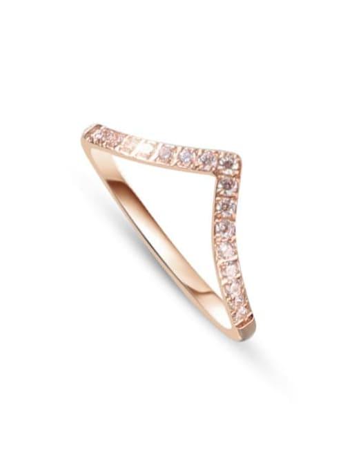 A136 rose gold Titanium Steel Rhinestone Geometric Minimalist Band Ring