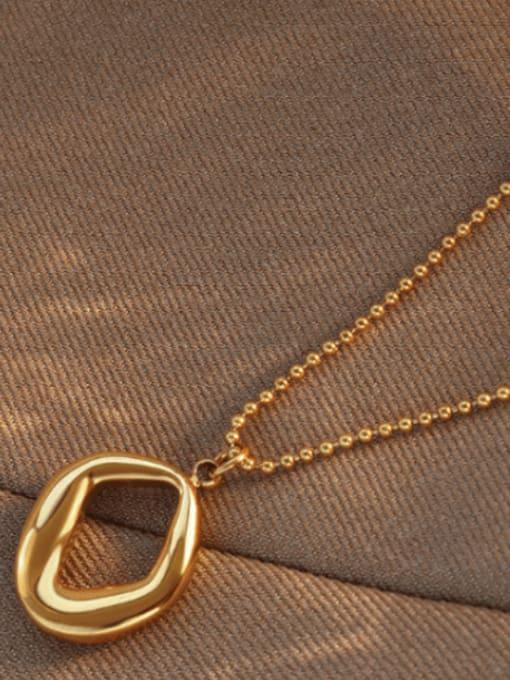 Gold 40+5cm Titanium Steel Bead Chain  Vintage Irregular Pendant Necklace