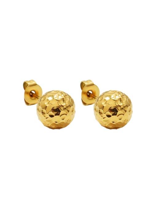 f489 gold foil Ball Earrings Titanium Steel Round Hip Hop Stud Earring