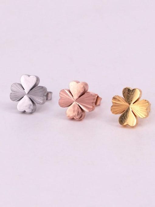 K.Love Titanium Steel Clover Minimalist Stud Earring 4