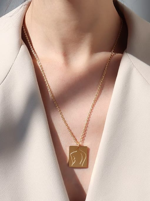 Gold long square Titanium Steel Geometric Vintage Multi Strand Necklace
