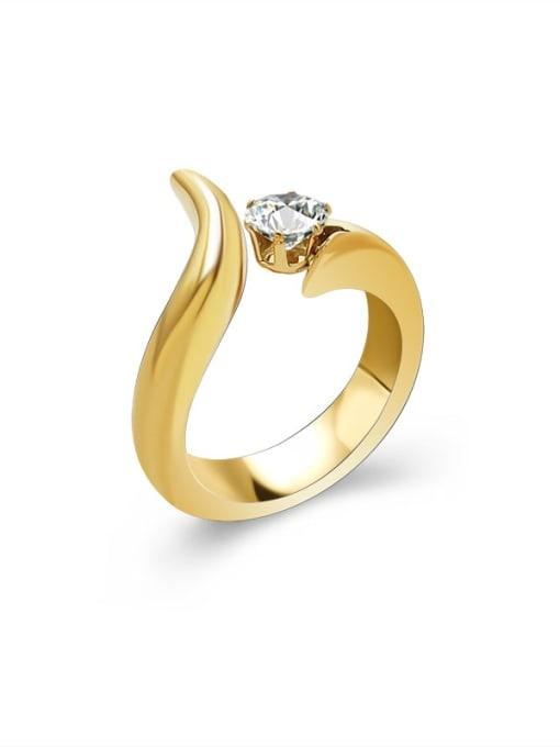 Gold ring Titanium Steel Rhinestone Irregular Vintage Band Ring