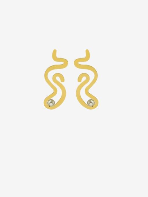 MAKA Titanium Steel Imitation Pearl Irregular Minimalist Stud Earring
