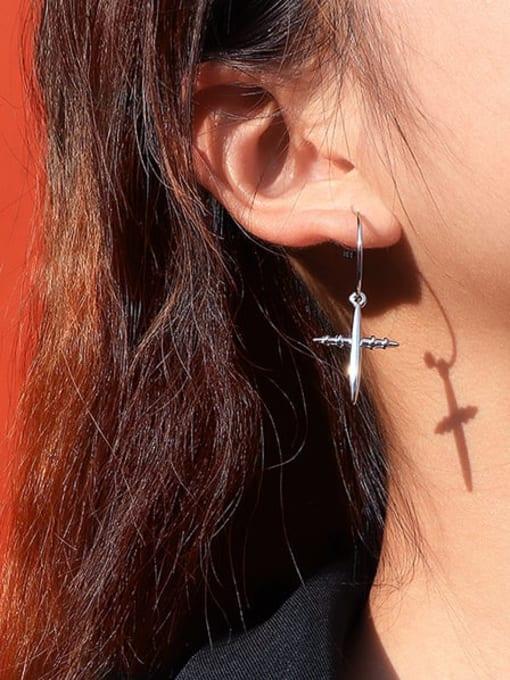MAKA Titanium Steel Cross Minimalist Hook Earring 1