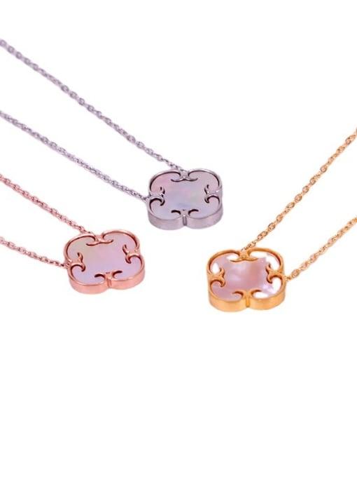 K.Love Titanium Steel Shell Clover Minimalist Necklace 4