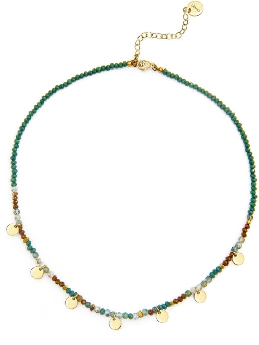 Green Natural stone beads temperament titanium steel necklace