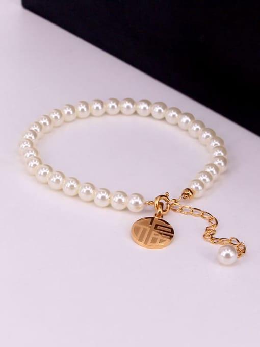 K.Love Titanium Steel Imitation Pearl Round Minimalist Beaded Bracelet 2