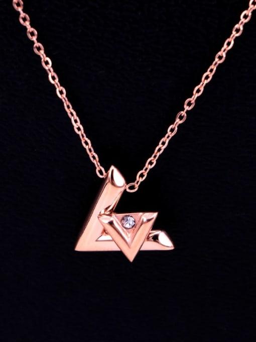 K.Love Titanium Steel Rhinestone Letter Minimalist Necklace 2