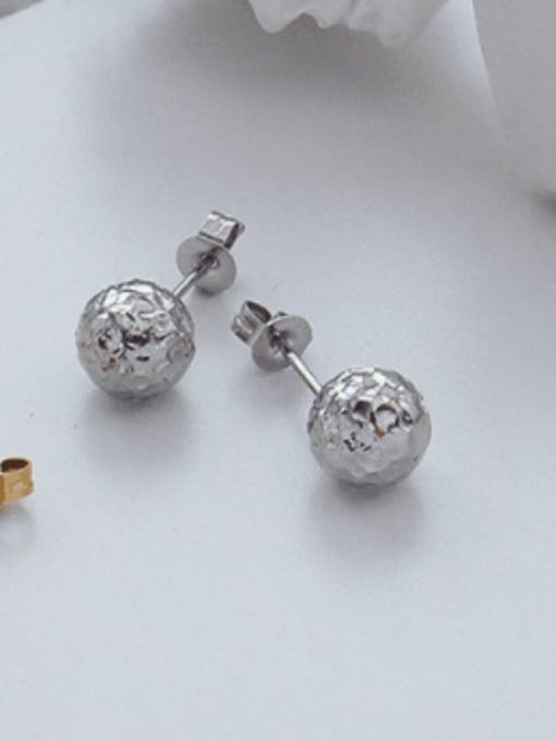 f489 steel tinfoil ball stud Titanium Steel Round Hip Hop Stud Earring