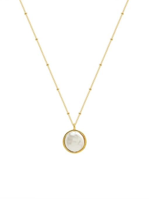 Gold necklace 40+5cm Titanium Steel Shell Geometric Minimalist Necklace