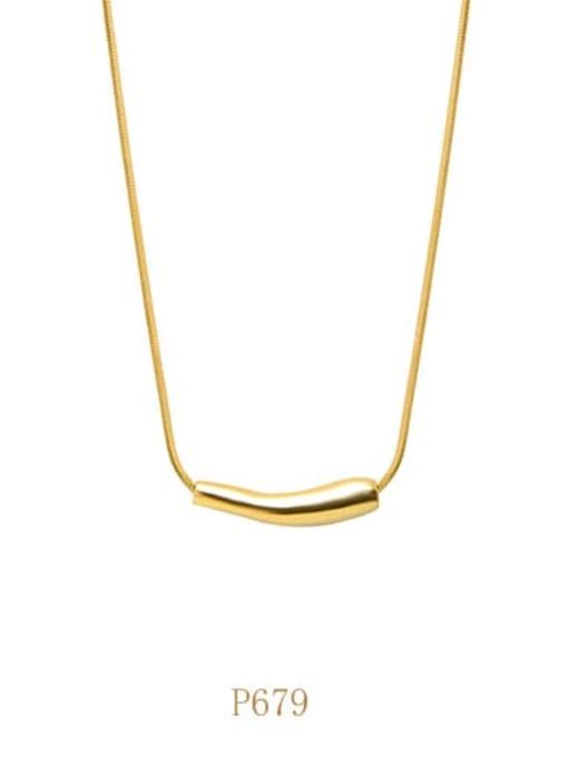 Gold necklace B p679 Titanium Steel Geometric Minimalist Necklace