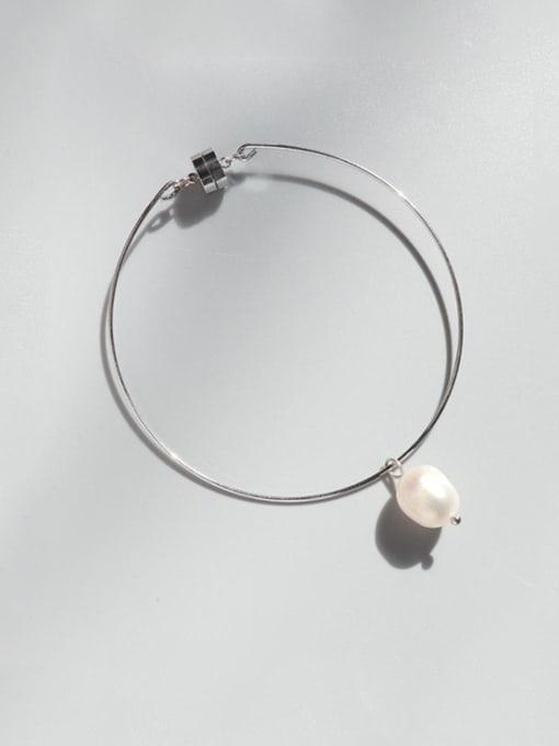 Steel Bracelet Titanium Steel Freshwater Pearl Irregular Minimalist Band Bangle