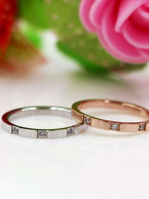 K.Love Titanium Steel Rhinestone Geometric Minimalist Band Ring 2