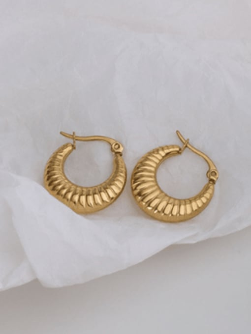 F478 gold ox horn Earrings Titanium 316L Stainless Steel Hollow Geometric Vintage Huggie Earring with e-coated waterproof