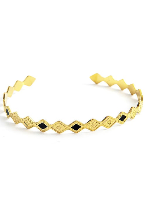 gold Stainless steel Enamel Geometric Trend Cuff Bangle
