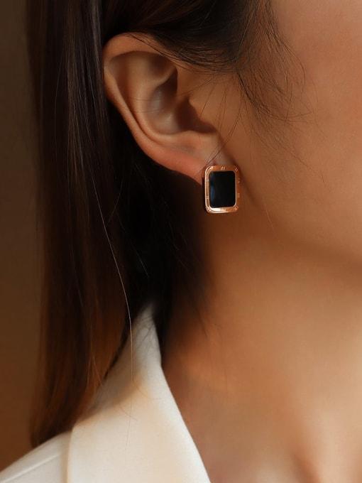 Rose Gold Black Titanium Steel Shell Geometric Minimalist Stud Earring