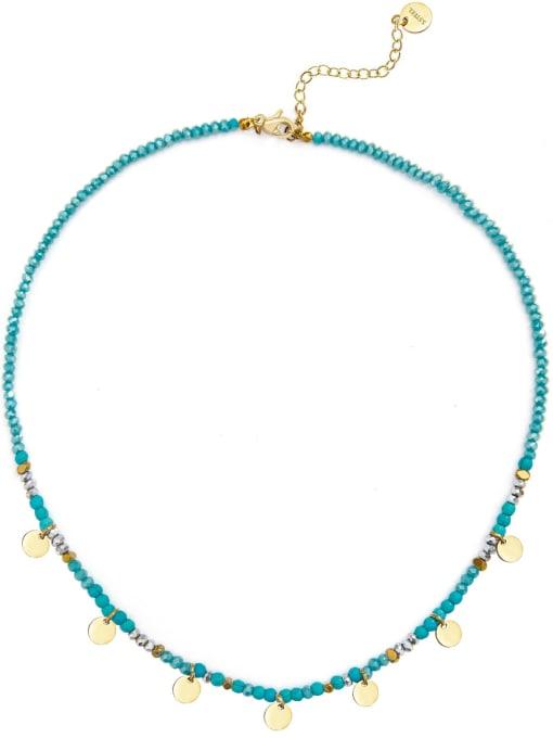 Blue Natural stone beads temperament titanium steel necklace