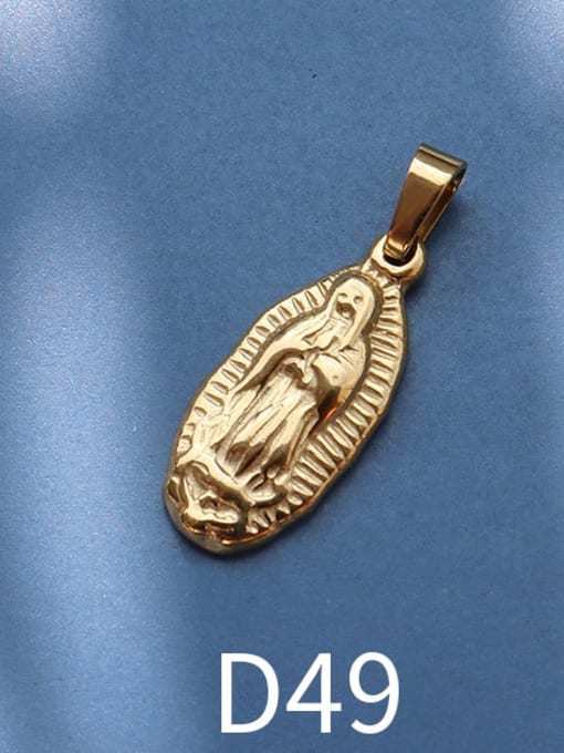 D49 gold Stainless steel Geometric  Vintage Pendant