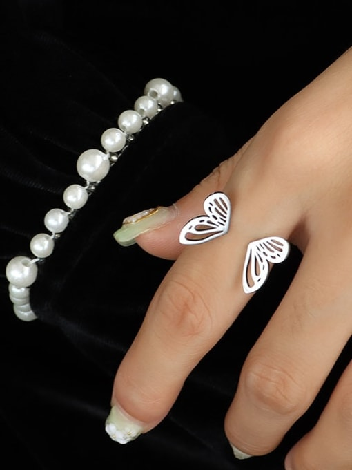 A221 steel color ring US 7 Titanium Steel Hollow Butterfly Minimalist Band Ring