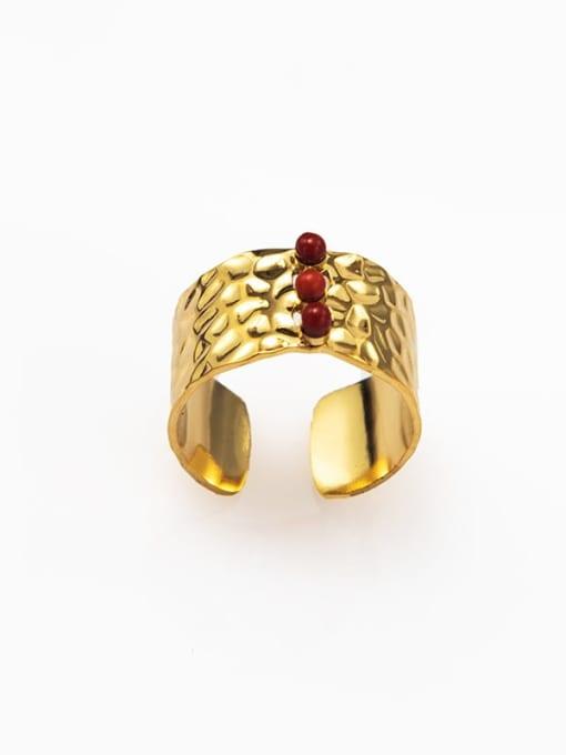 Red European and American retro opening inlaid gem titanium steel ring