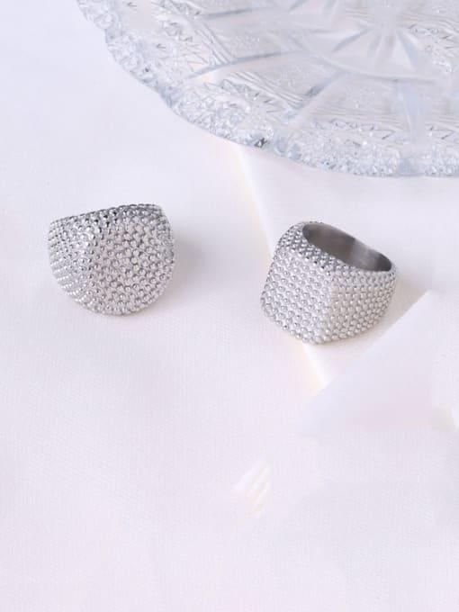 MAKA Titanium Steel Geometric Artisan Band Ring 0