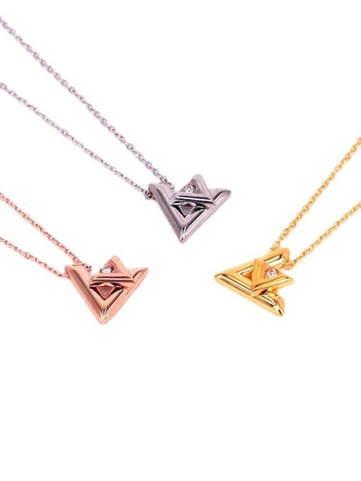 K.Love Titanium Steel Rhinestone Letter Minimalist Necklace 4