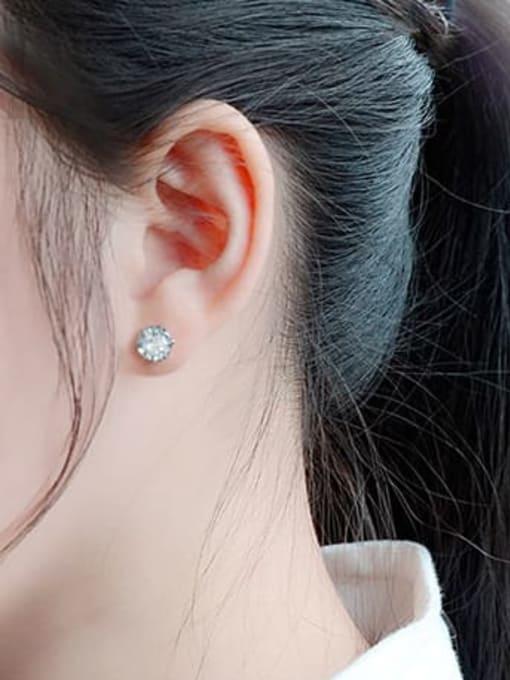 MAKA Titanium Steel Cubic Zirconia Geometric Minimalist Stud Earring 1