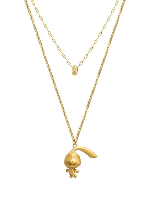 Gold Double necklaces Titanium Steel Irregular Cute Cartoon Rabbit  Multi Strand  Necklace
