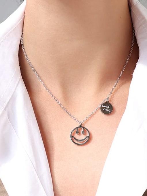 MAKA Titanium Steel Smiley Minimalist Necklace 3