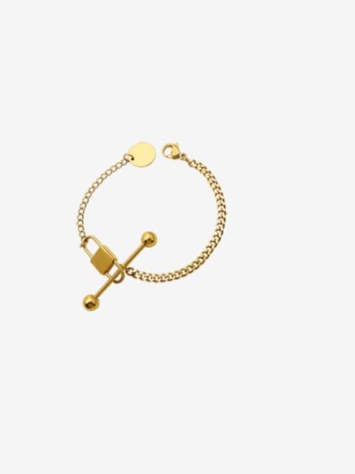 E223 gold bracelet 15 cm Titanium Steel Vintage Geometric  Braclete and Necklace Set