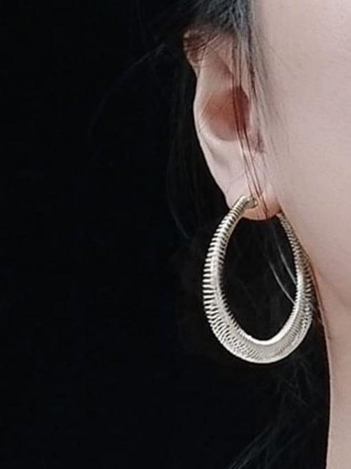 MAKA Titanium Steel Round Vintage Hoop Earring 2