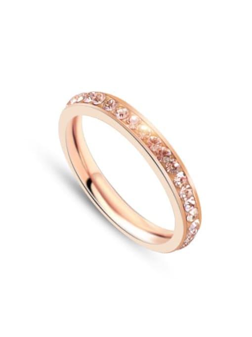 A137 rose gold Titanium Steel Rhinestone Geometric Minimalist Band Ring