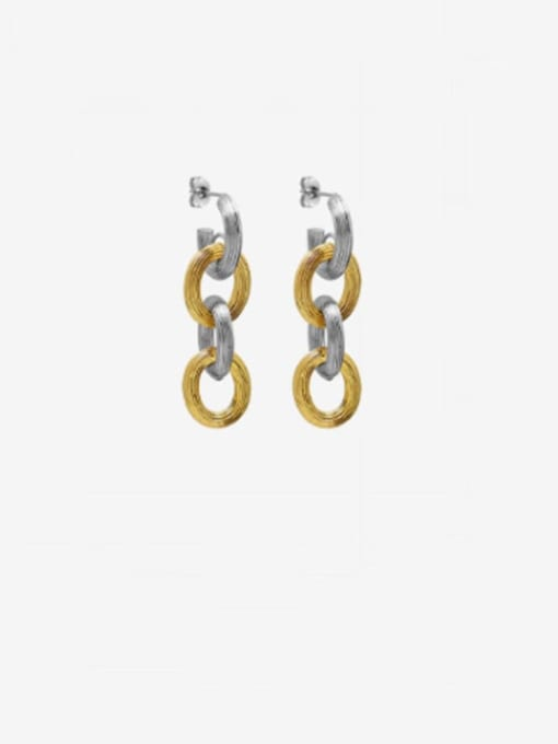 A pair of f443 embossed Earrings Titanium Steel  Hip Hop Geometric Earring and Bangle Set