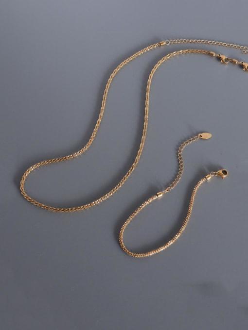 MAKA Titanium Steel Minimalist Irregular  Bangle and Necklace Set 0