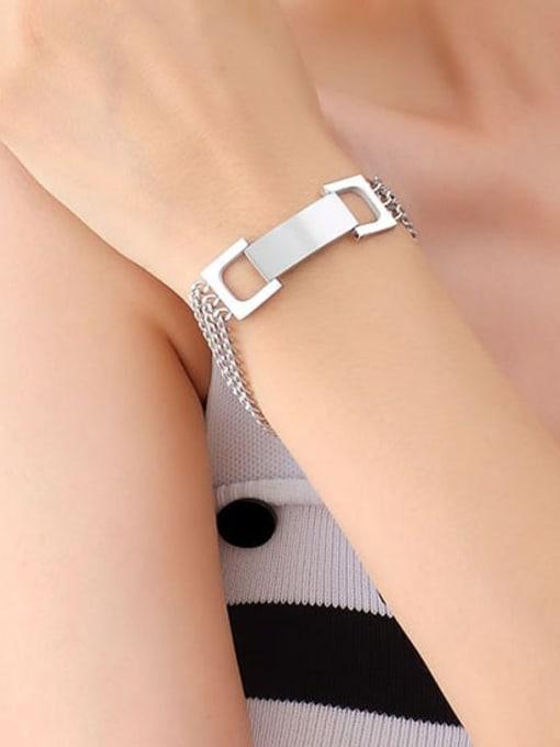 E019 steel bracelet 17+ 5cm Titanium Steel Geometric Minimalist Link Bracelet