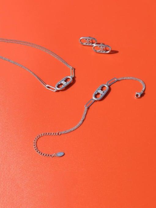 f365 Steel Earrings Titanium Steel Minimalist Hollow Geometric Pendant Necklace