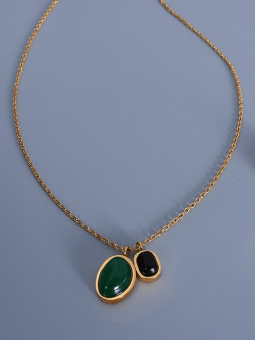 P1041 gold Agate Necklace 405cm Titanium Steel Vintage Geometric  Agate Earring and Necklace Set