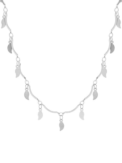 MAKA Titanium Steel Leaf Minimalist Necklace 0