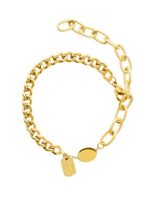 Gold bracelet 20cm Titanium Steel Geometric Minimalist Link Bracelet