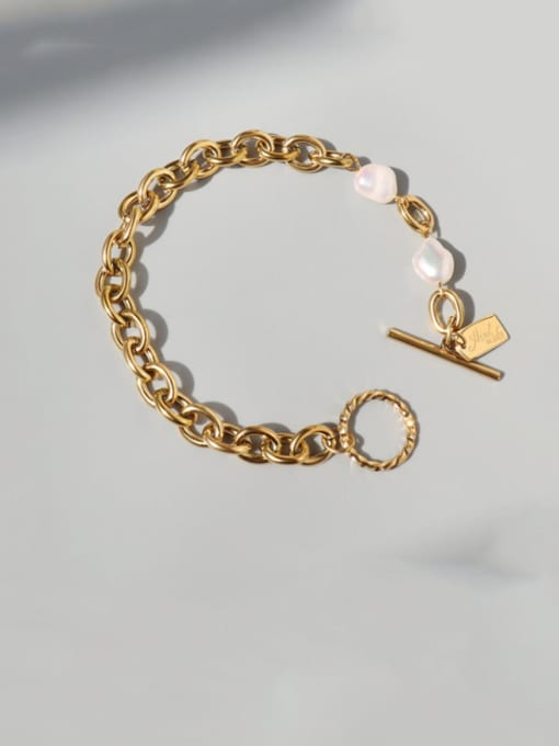 MAKA Titanium Steel Freshwater Pearl Geometric Vintage Link Bracelet 2